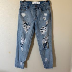 Brandy Melville Cropped BF Distressed Jeans siz 26